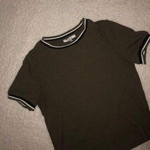 a olive green top